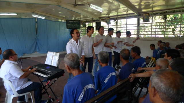 NCAF Music Ministry serenades the inmates of the Medium Security Prison.