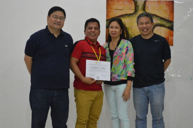 (From left to right) DepEd Undersecretary Lino Rivera, Teacher-Participant Carlos Oro, NNHS Principal Cristina Robles, and NCAF Executive Director Rapa Lopa